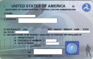 FAA private pilot license example