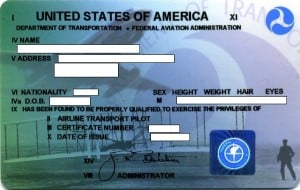FAA airline transport pilot license