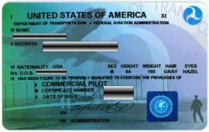 FAA commercial pilot license