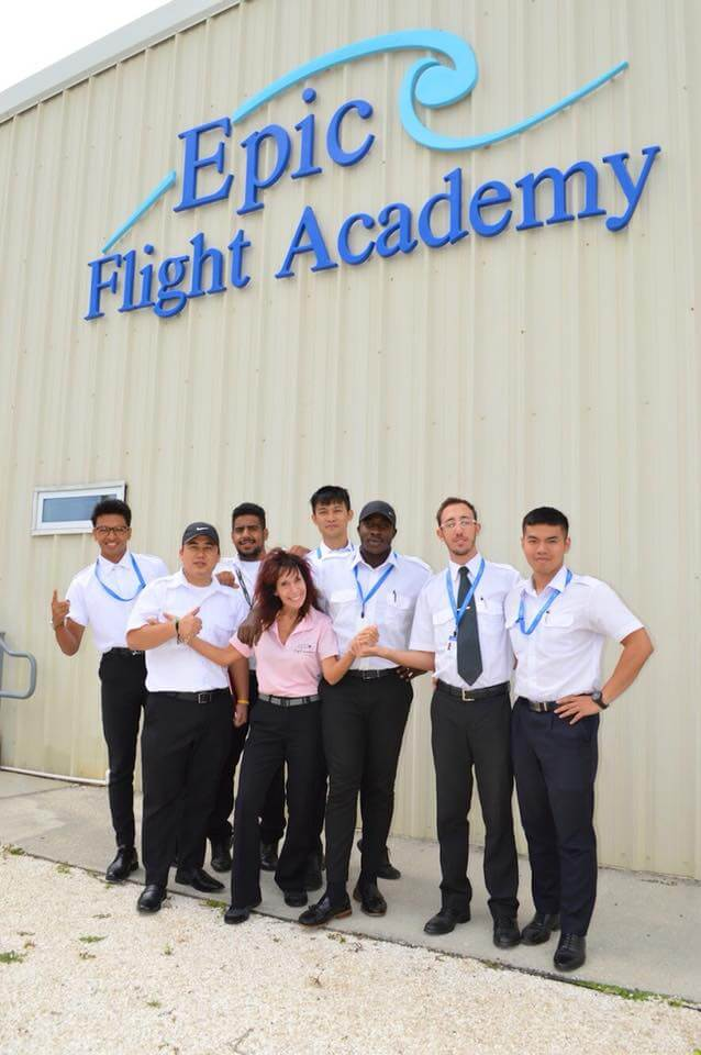 Epic student pilots with Captain Judy Rice