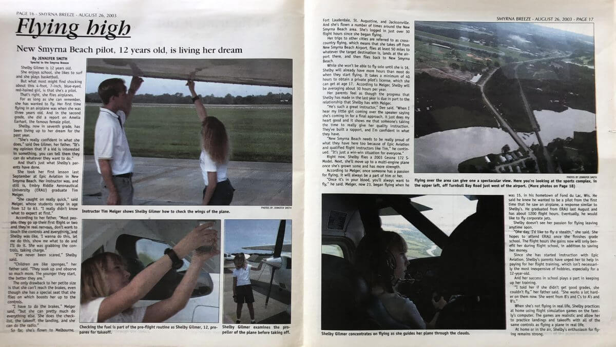 Epic Flight Academy 12 year old pilot profile
