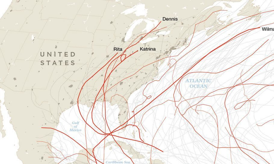 Nat Geo Hurricane Tracks over 10 years