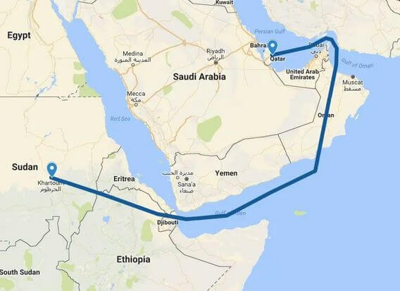 Routing Between Bahrain and Qatar