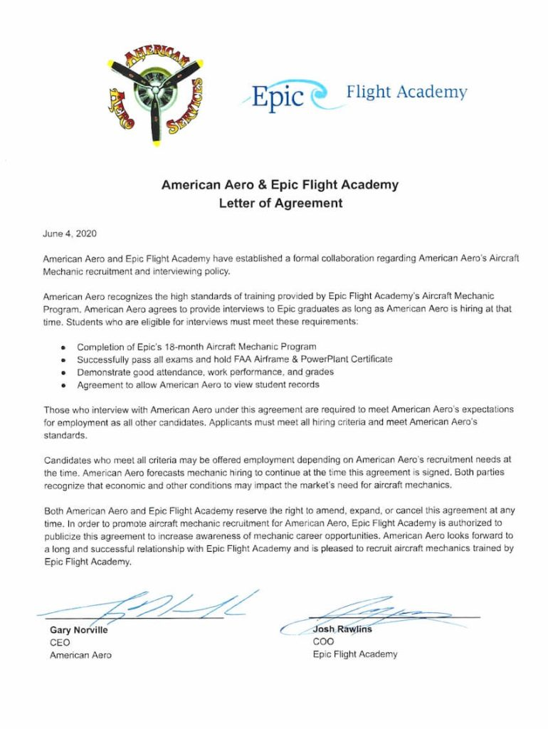 American Aero Services is a hiring partner for Epic Flight Academy graduates