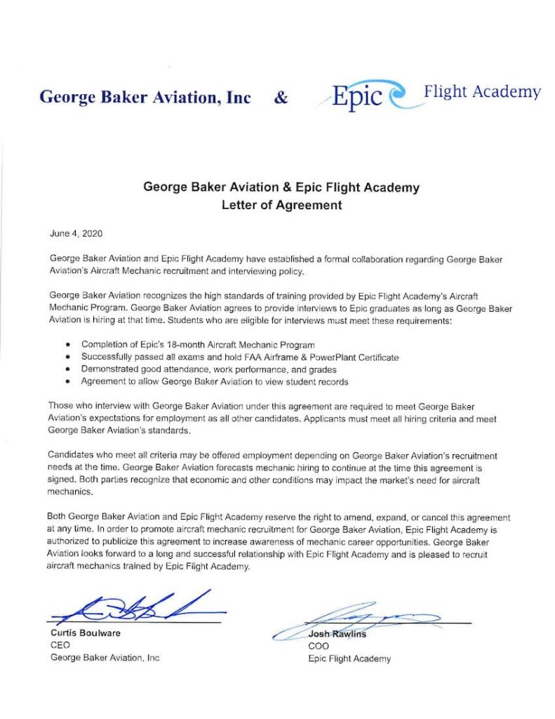 George Baker Aviation is a hiring partner for Epic Flight Academy graduates