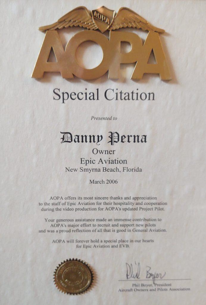 Epic AOPA Special Citation