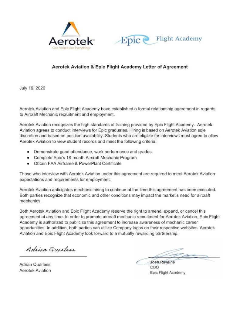Aerotek is a hiring partner for Epic Flight Academy graduates