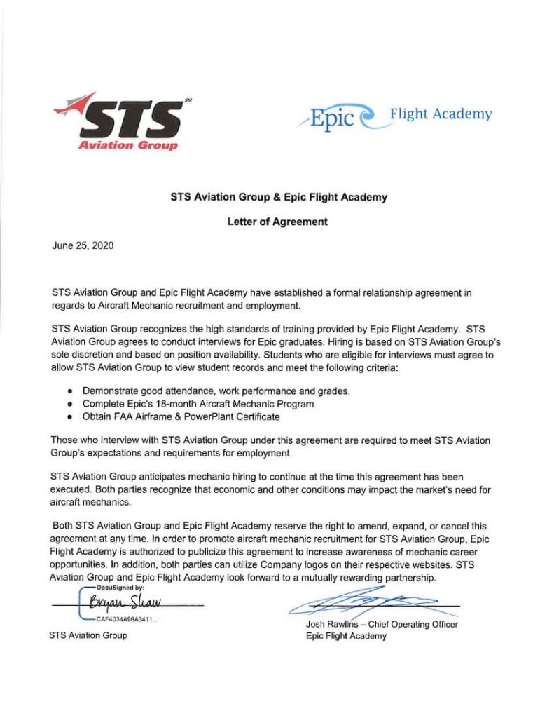 STS Aviation Group is a hiring partner for Epic Flight Academy graduates