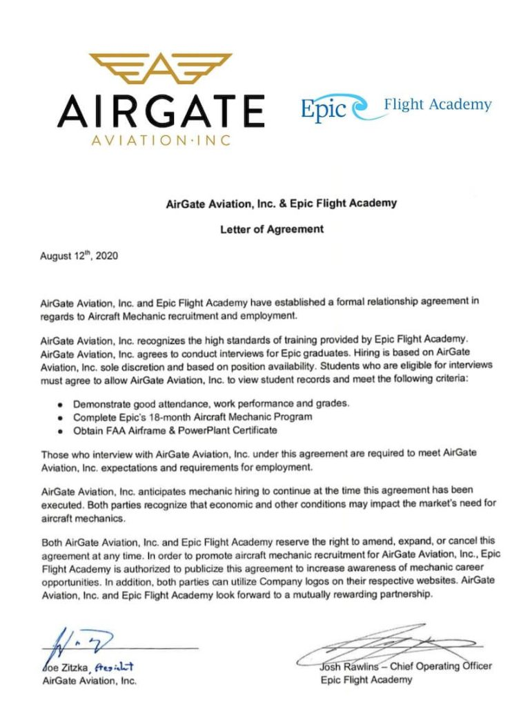 AirGate Aviation is a hiring partner for Epic Flight Academy graduates