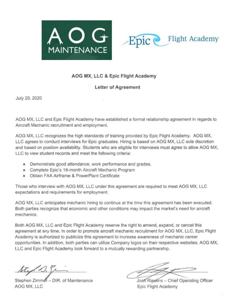 AOG MX Maintenance is a hiring partner for Epic Flight Academy graduates