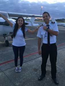 Colombia flight student Diego Villalobos after passing his checkride
