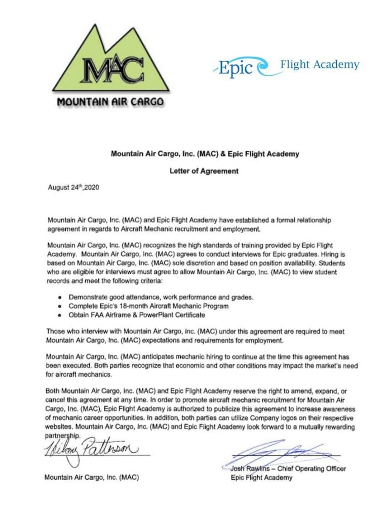 Mountain Air Cargo is a hiring partner for Epic Flight Academy graduates